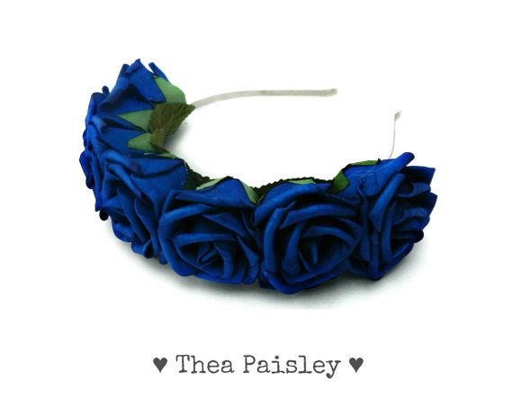 Lana Del Rey Flower Crown :Royal Blue Rose / Pastel goth, Pastel grunge, Flower Halo, 2014 Music Festival, Coachella, Rave, Music Festival on Etsy, £14.70