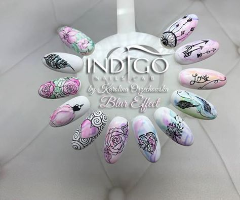 Blur efekt + zdobienia rapidografem by Karolina Orzechowska Indigo Educator Gdańsk #blur #effect #indigo #nails #nail #pastel #watercolours #spring #black #nailart