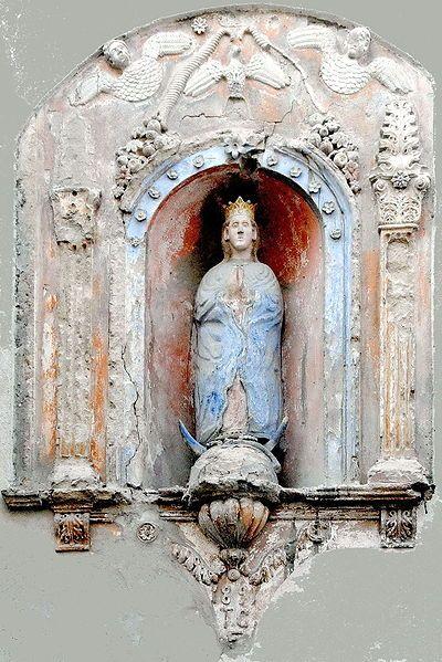 Statue of a crescent Madonna