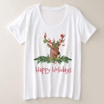 Gold Fleck Christmas Deer Happy Holidays Plus Size T-Shirt - holidays diy custom design cyo holiday family