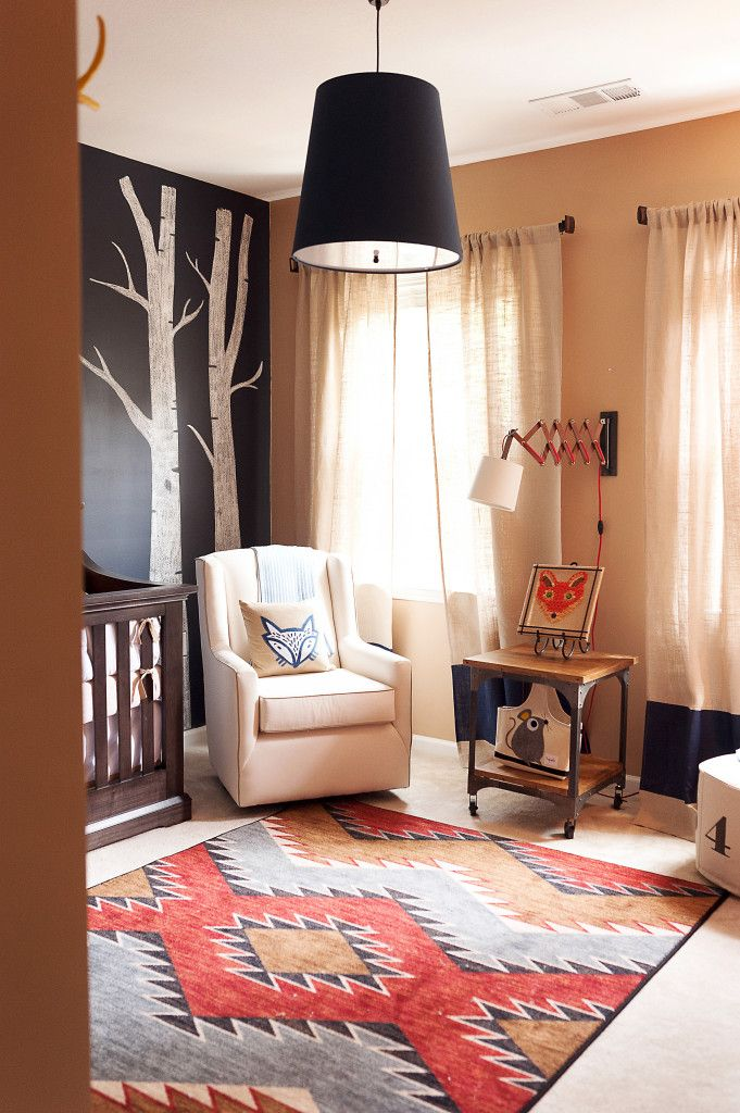 Fox-Themed Nursery - between the chalkboard accent wall and that Southwest-inspired American Dakota rug, we are in LOVE!