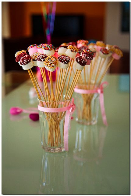 Chocolate dipped  mini marshmallows on skewers - darling!