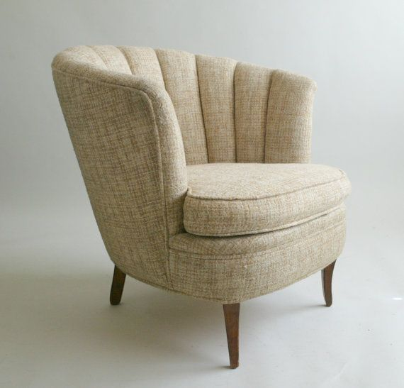 R E S E R V E D / / / Beautiful Mid Century Upholstered Channel Back  Boudoir Chair  Original Oatmeal Beige Tweed  Wood Klismos Legs