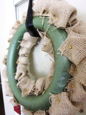 Burlap wreath tutorial. @Cameron Daigle Daigle Bartlett Wilson,foam w/ pin needles looks easier lol
