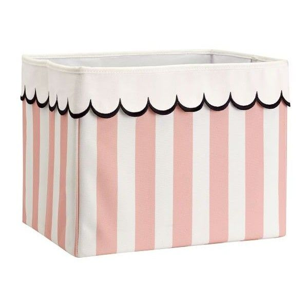 PB Teen The Emily & Meritt Scallop Storage Bins, Large, Pink/White ($25) ❤ liked on Polyvore featuring home, home decor, small item storage, storage baskets, canvas baskets, white bin, pink bins and book bins