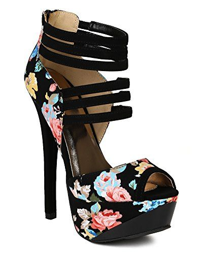 Qupid BC29 Women Fabric Floral Multi Color Strappy Peep Toe Stiletto Platform Heel - Black