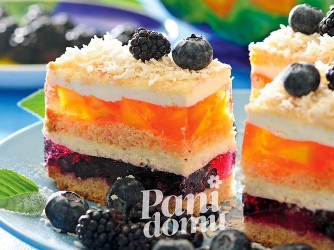 Ciasto tęczowe z galaretką - przepis