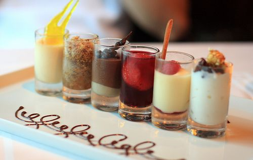 Shotglass Desserts, tiramisu, cheesecake, chocolate mouse, apple crumble