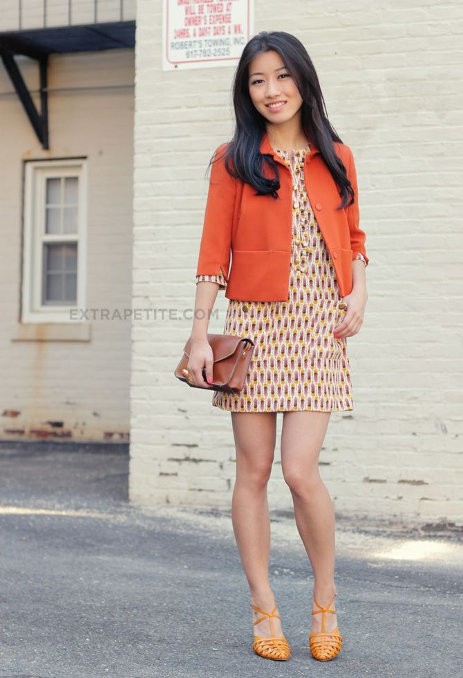 cropped orange blazer with printed dress