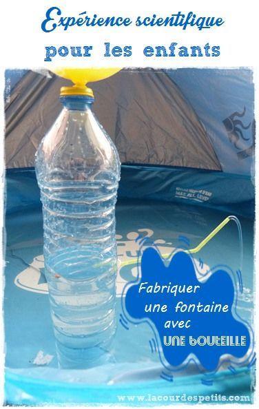 Une expérience scientifique (très amusante) pour les enfants : fabriquer -très simplement- une fontaine avec une bouteille d'eau et étudier ainsi la présence de l'air et sa pression. http://www.lacourdespetits.com/experience-scientifique-pour-les-enfants-air-eau/ #experiencescientifique