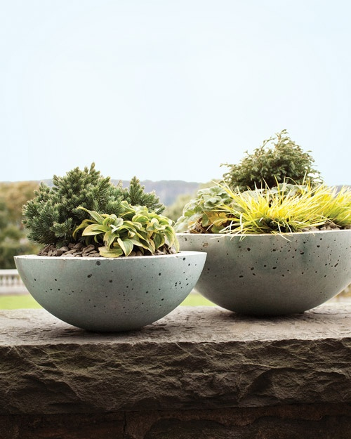 diy concrete containers from Martha Stewart: Cement Planters, Mixed Bowls, Stones Planters, Cement Pots, Bowls Planters, Hypertufa Planters, Martha Stewart, Hypertufa Pots, Concrete Planters