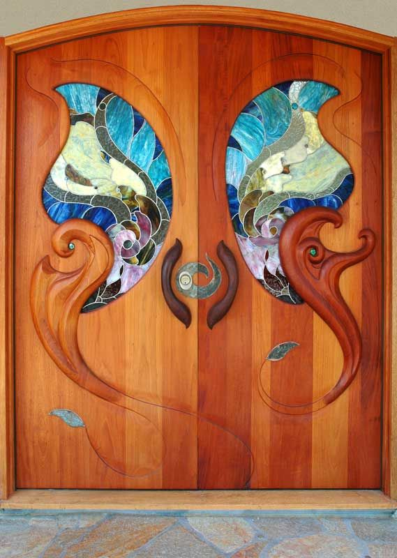 lovely door with stained glass insert-Lance Jordan Creations