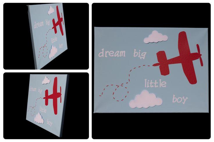 3D Nursery Art - Airplane and Clouds - dream big little boy