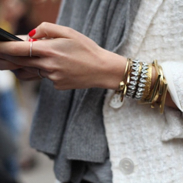 """@yourfashionfix's photo: """"Classic red nails and chic jewellery compliment this gorgeous white jacket so well. Classy!!"""""""