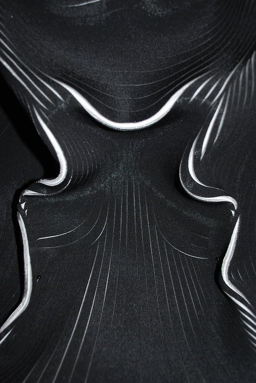Lasercut Neoprene with sculptural surface detail - innovative textiles design; fabric manipulation // Pauline Van Dongen