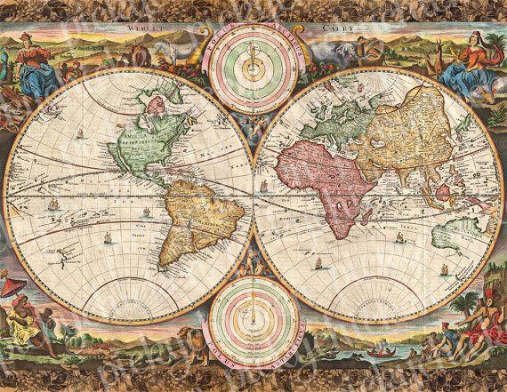 Vintage Maps Digital Scrapbook Paper old map por pickychicken