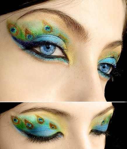 Peacock eye makeup: http://www.reddit.com/r/MakeupAddiction/comments/1o0p2c/what_kind_of_tools_should_i_use_to_do_this/