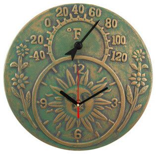 Verdigris Finish Terracotta Sun Face Clock / Thermometer - traditional - Outdoor Products - Things2Die4 $24.99