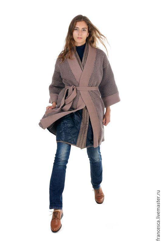 Пальто кардиган вязаное шерстяное в стиле кимоно и шарф снуд. Дизайнерская одежда Cashmere Francesca
