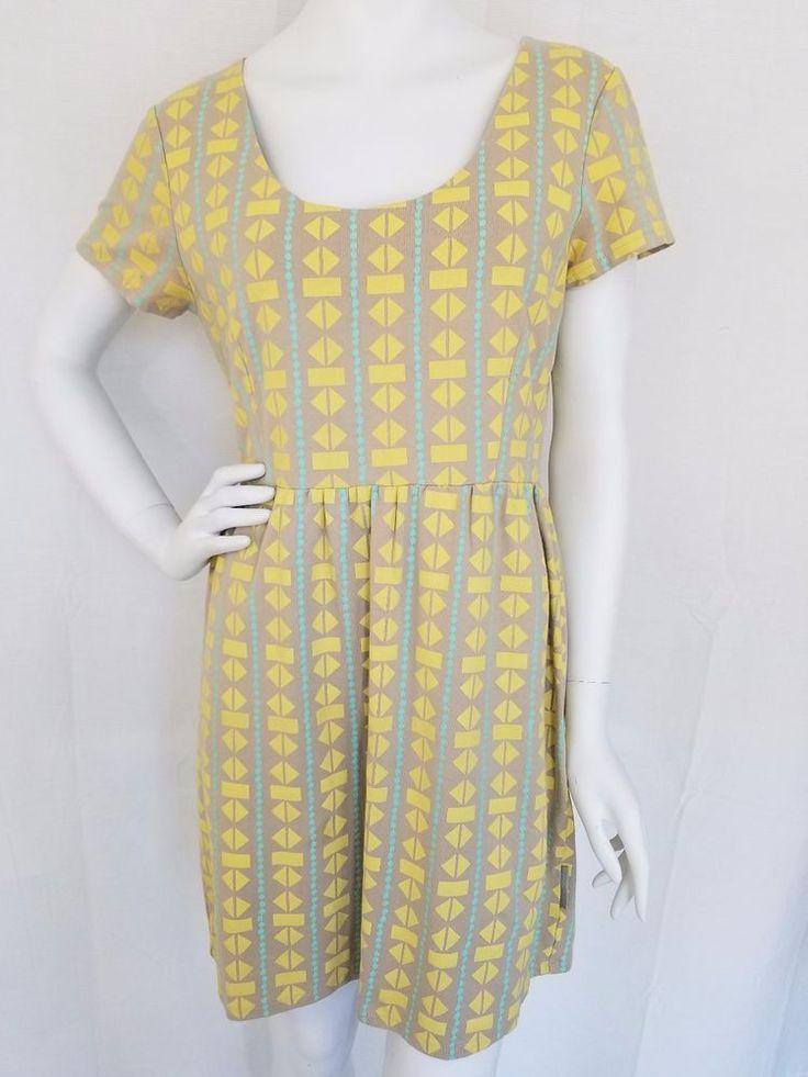 STUSSY Cutout Back Jersey Knit Dress Tan Yellow Teal Geometric Fit Flare LARGE #Stussy #BodyconDressTShirtDress