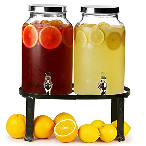 Dual Mason Jar Drinks Dispenser with Stand 352oz / 10ltr | bar@drinkstuff Double Beverage Dispenser, Mason Jar Beverage Dispenser, Double Drinks Dispenser, Juice Dispenser, Cocktail Dispenser: Amazon.co.uk: Kitchen & Home