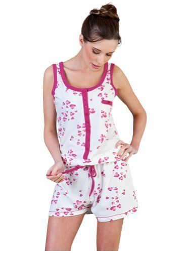 Womens/Ladies Nightwear/Sleepwear Heart Print Sleeveless Vest & Shorts All In One (One Piece) Onesies, Various Sizes La Marquise, http://www.amazon.co.uk/dp/B00ET0KNIQ/ref=cm_sw_r_pi_dp_aDf1sb178CEMB