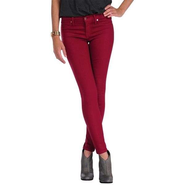 Henry & Belle Coated Super Skinny Ankle ($90) ❤ liked on Polyvore featuring jeans, pants, denim, sangria, skinny, women, skinny straight leg jeans, cropped jeans, denim jeans and super skinny jeans