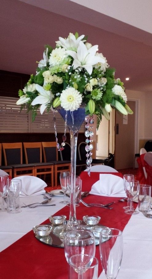 tall wedding centrepieces martini glass - Google Search