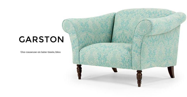 Garston, une causeuse en laine tissée bleue | made.com 769€ au lieu de 1070€
