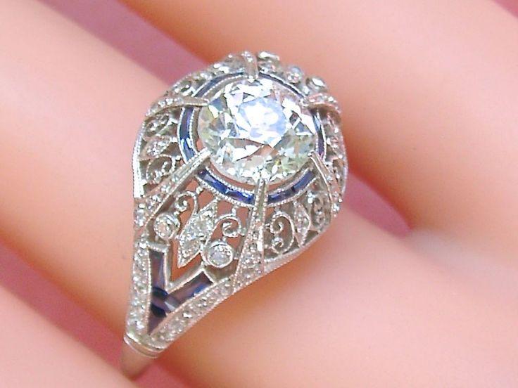 ANTIQUE EDWARDIAN DECO 1.7ct MINE DIAMOND SAPPHIRE COCKTAIL ENGAGEMENT RING 1920 #Handmade #ENGAGEMENTCOCKTAILSOLITAIREWITHACCENTS