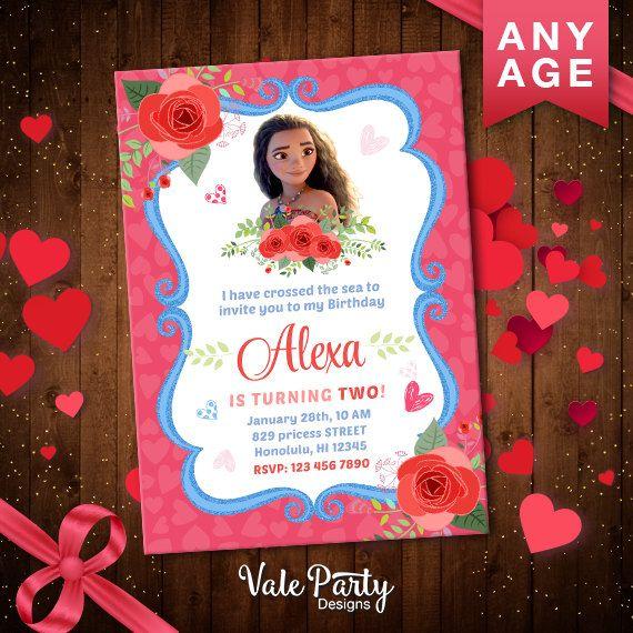 Moana Invitation, Moana Valentine's Day Card, Princess Birthday Party Invitation, Digital Invite, Valentine's Printable, VP-044