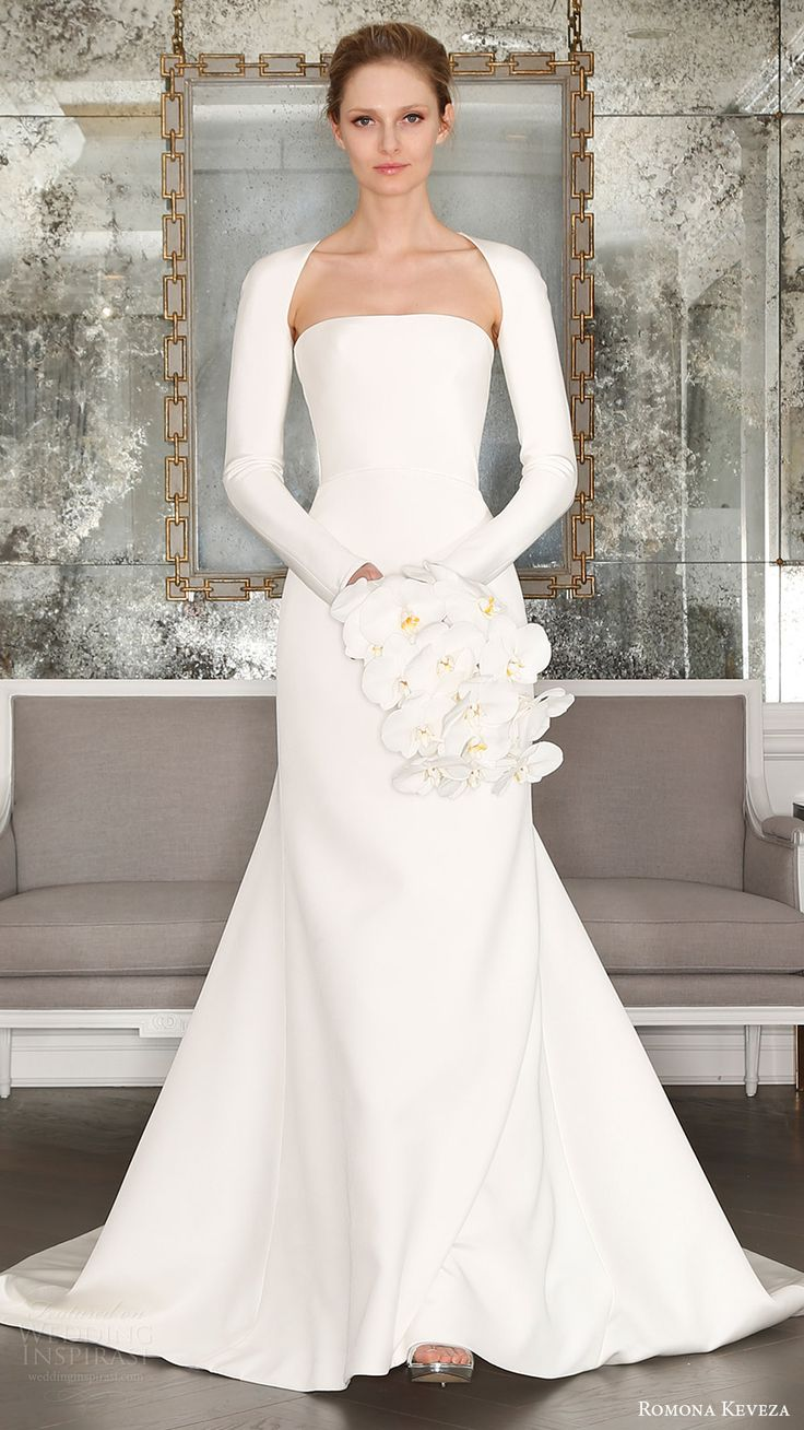 romona keveza bridal spring 2017 strapless straightacross trumpet wedding dress (rk7402) mv optional long sleeve shrung