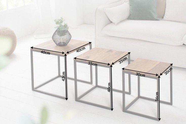 Design Beistelltisch 3er Set Elements 40cm Sheesham Metallgestell Schwarz Riess Ambiente De Design Beistelltisch Wohnzimmertische Tisch