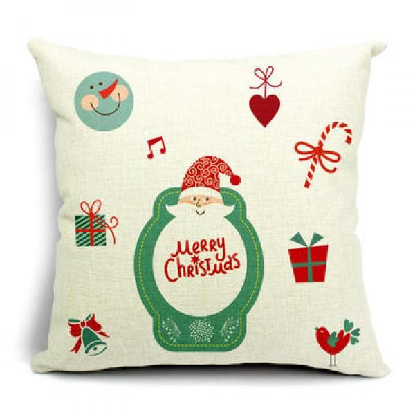 Santa Claus Cartoon Decorative Christmas Pillows Square Linen Sofa Cushions