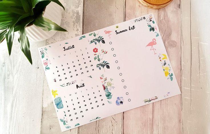 Préparons un été d'inspiration tropicale avec ce Calendrier FREE PRINTABLE pour les mois de juillet et d'août.Très pratique avec sa Summer List à compléter!