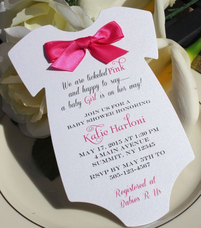 Baby Shower Invitation for Girl in Shape of Onesie with Hot Dark Pink Satin Bow!
