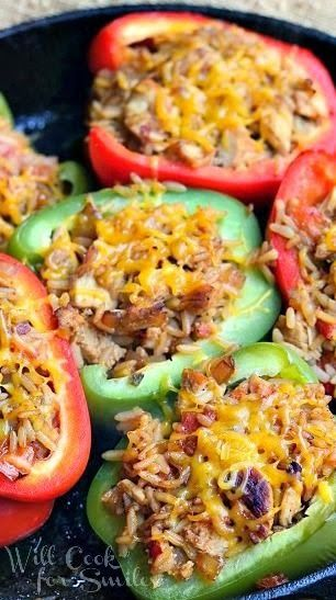 Chicken Fajita Stuffed Peppers but put on the grill instead