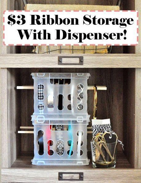 3 craft ribbon storage dispenser, craft rooms, crafts, organizing, storage ideas