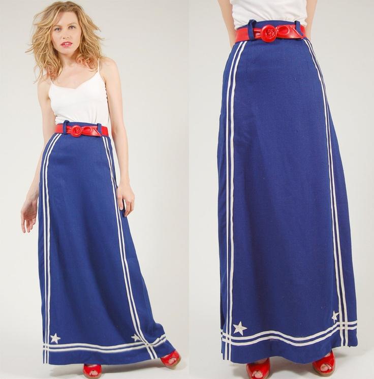 Vintage 70s NAUTICAL Skirt Blue SAILOR Americana Maxi XS/S. $62.00, via Etsy.