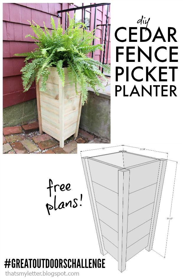 Diy 10 fence picket planter scrapworklove for Tapered planter box plans