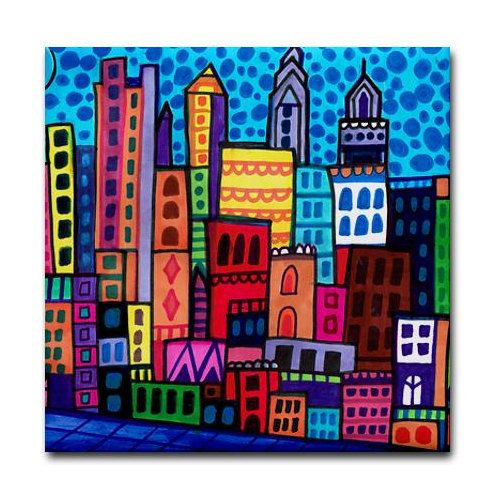 50% OFF Today- Philadelphia art Tile Ceramic Coaster Mexican Folk Art Print of painting by Heather Galler dog City Skyline Philly