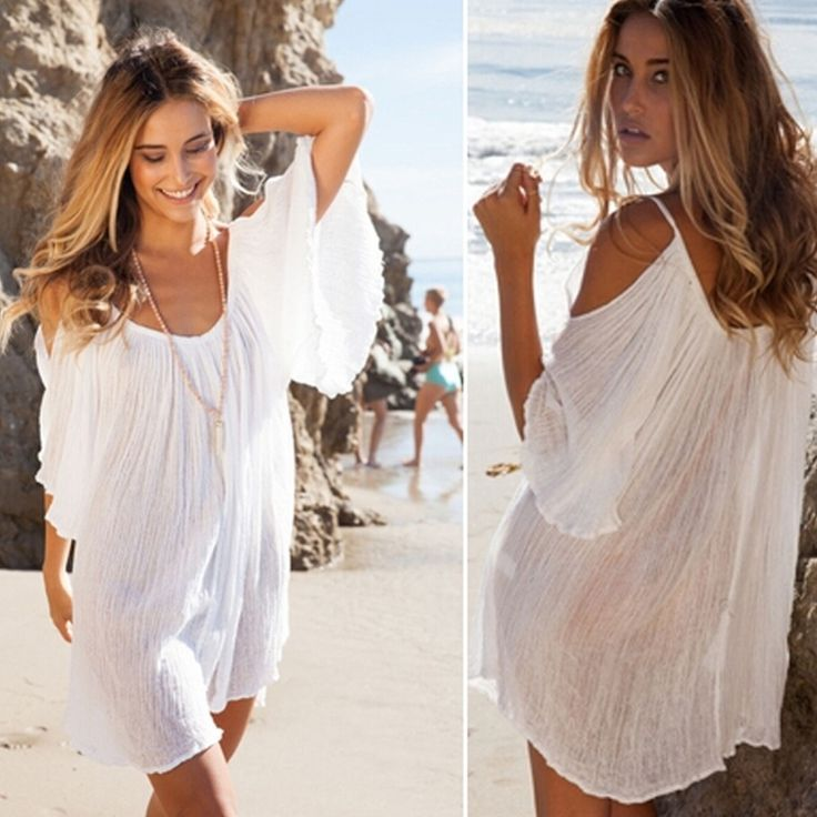 2015 Fashion New Brand Women Summer Cotton Dress Sexy Loose O-Neck Petal Sleeve Casual Mini White Beach Dresses