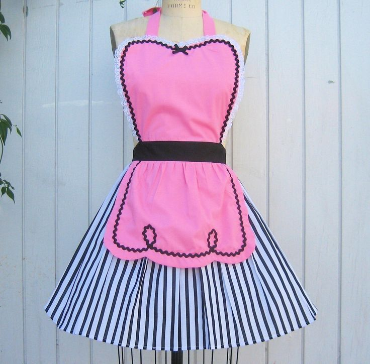 retro pink apron 50s DINER WAITRESS ... ice cream parlor candy shop fifties sexy…