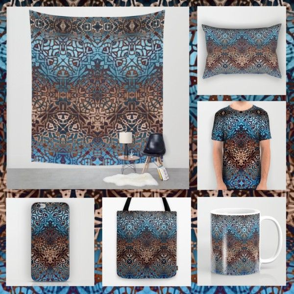 """Design """"Ethnic Tribal Pattern G329"""" by medusa81 on Polyvore https://society6.com/product/ethnic-tribal-pattern-g329_print#1=45  #Society6 #cases #skin #tote #bag #mug #alloverprint #shirt #pillow #wall #tapestry #patter #ethnic #ethno #tribal #textile #texture #blue #brown"""