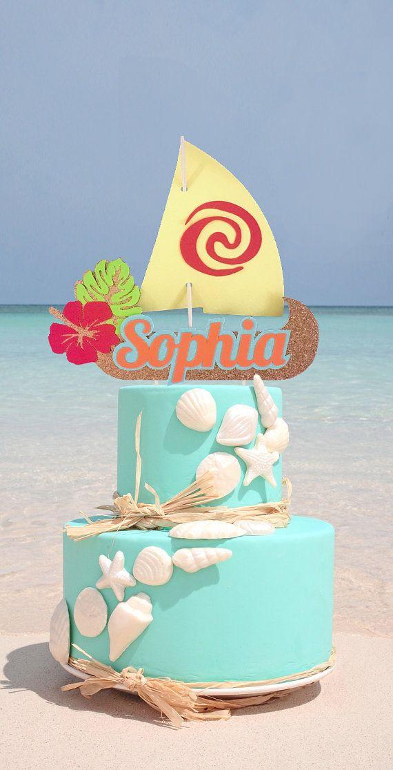 Torta de barco de vela Moana personalizadas Topper de la