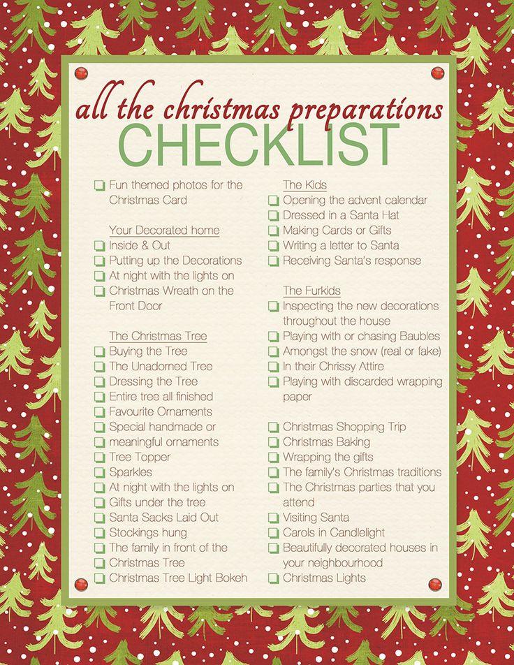 1000 ideas about Christmas Checklist – Christmas Preparation Checklist