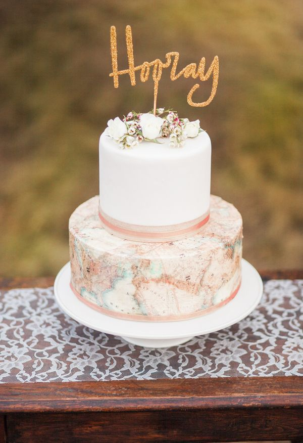 "Travel-themed cake, printed map, gold ""Hooray"" cake topper // Meredith Jane Photography"