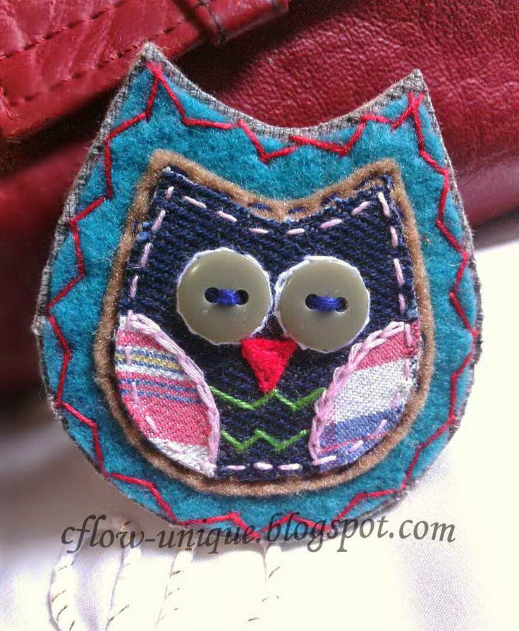 Owl brooch, made from a combination of denim, motif cotton fabric, felt, and button.