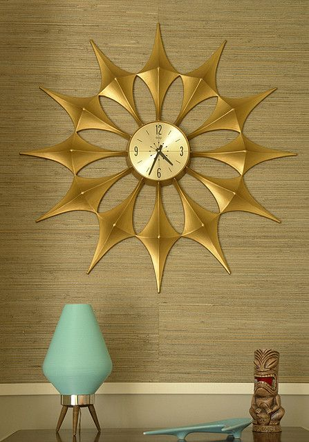 Furniture Golden Starburst Wall Clock - something like this in dining room