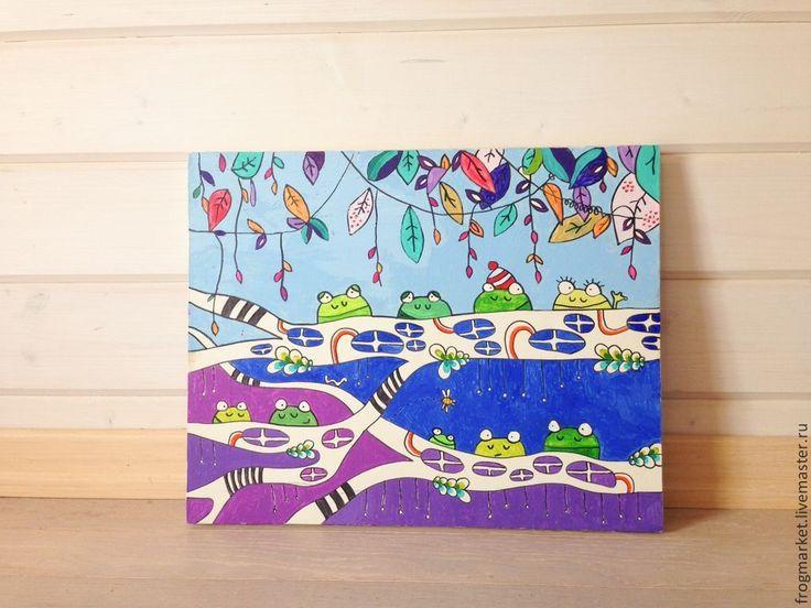Купить Лягушки на ветках - темно-синий, лягушка, лягушки, психоделика, яркий, зеленый, фиолетовый